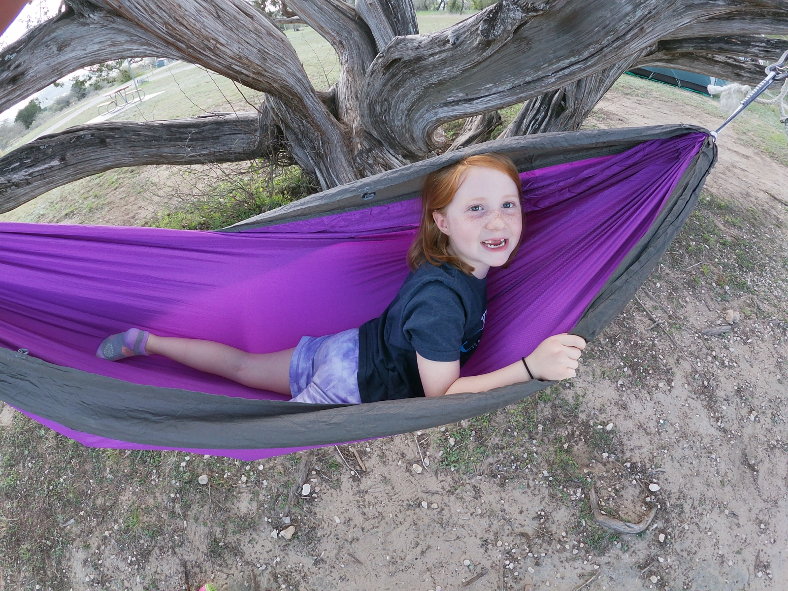 Mara playing in the hammock